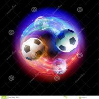 futbolnogo-myacha-i-globusy-mira-na-chernoj-predposylke-kosmosa-110833519